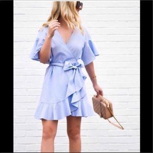 Topshop Blue Stripe Poplin Wrap Dress Ruffle 2